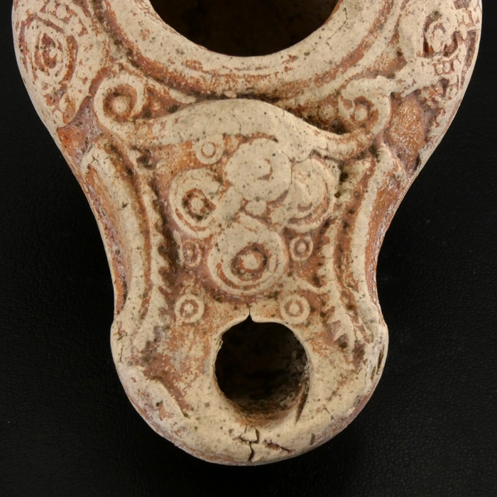 Holy Land, ancient Roman Beit-Nattif decorated oil lamp