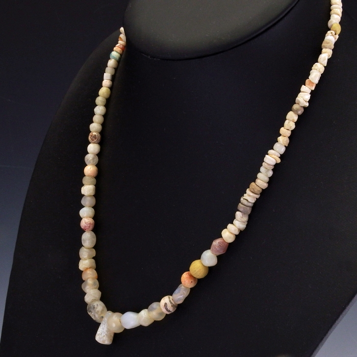 Necklace with ancient glass, stone and shell beads