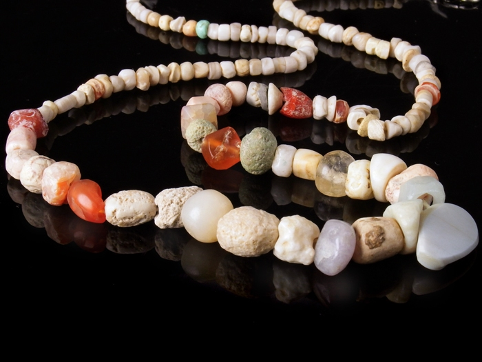 Necklace with ancient stone, crystal and carnelian beads