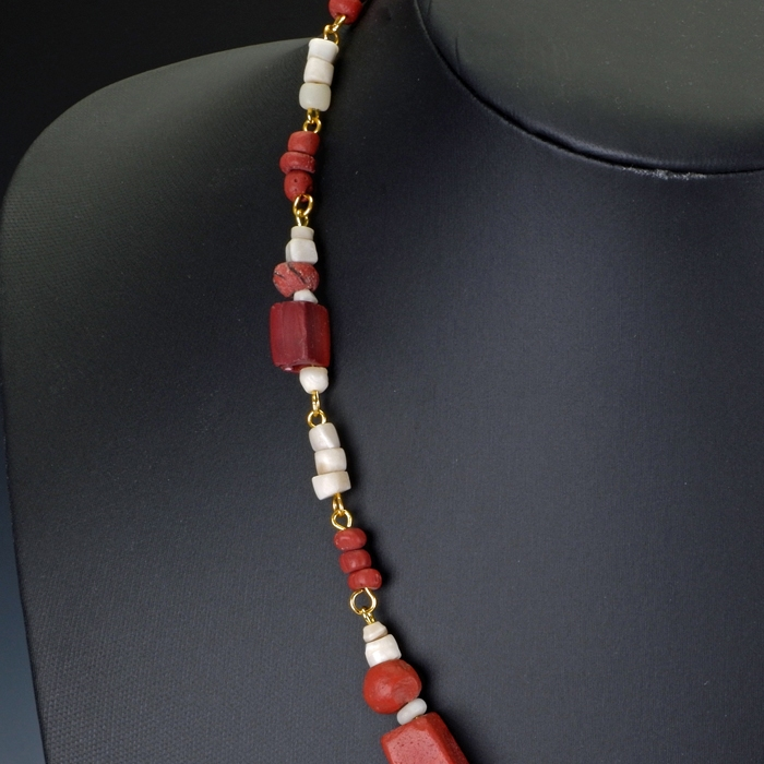 Necklace with Roman red glass and shell beads