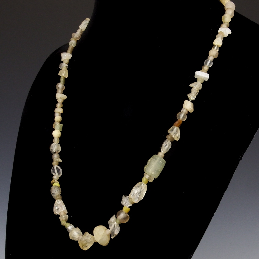 Necklace with Roman semi-translucent glass and crystal beads
