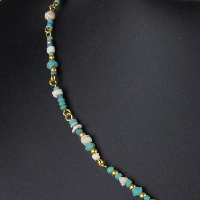 Necklace with Roman turquoise glass and shell beads