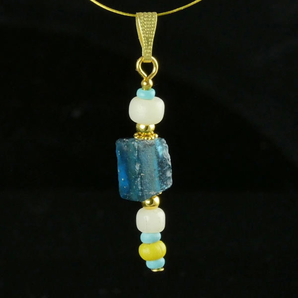 Pendant with Roman blue, turquoise and white glass beads