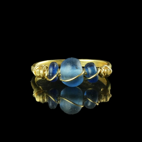 Ring with Roman wire-wrapped blue glass beads