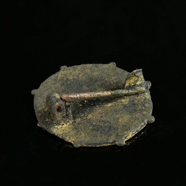 Roman bronze gilded disc brooch