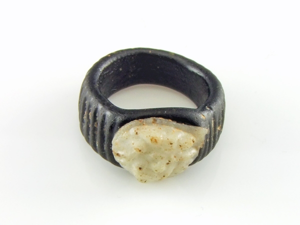 Roman glass ring with glass Medusa cameo