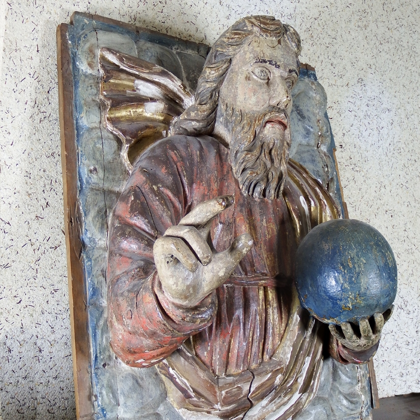 Swabian School, large polychrome panel of Christ as Saviour