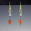Ancient Egypt, earrings with faience and carnelian beads