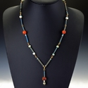 Necklace with Egyptian faience and carnelian beads