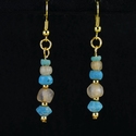 Earrings with Roman turquoise / semi-translucent glass beads