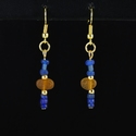 Earrings with Roman blue and amber/cognac glass beads