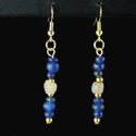 Earrings with Roman blue and semi-translucent glass beads