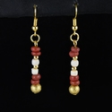 Earrings with Roman red glass and shell beads