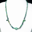 Necklace with Roman green glass beads with malachite bead