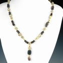 Necklace with Roman purple and semi-translucent glass beads