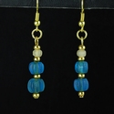 Earrings with Roman blue glass melon beads