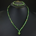 Necklace and bracelet with Roman green glass beads