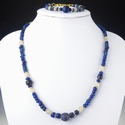 Necklace and bracelet with Roman blue glass beads