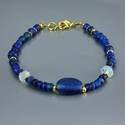 Bracelet with Roman blue glass and rock crystal melon beads