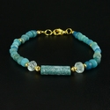 Bracelet with Roman turquoise glass and rock crystal beads