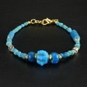 Bracelet with Roman turquoise / blue glass and melon beads