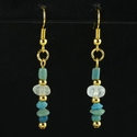 Earrings with Roman turquoise glass and crystal melon beads