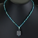 Necklace with Roman turquoise glass beads with stone amulet