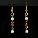 Earrings with Roman orange/red glass and shell beads