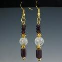 Earrings with Roman purple glass & ancient rock crystal bead