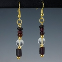 Earrings with Roman purple glass & ancient rock crystal bead