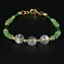 Bracelet with Roman green glass & ancient rock crystal beads