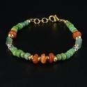 Bracelet with Roman green glass and carnelian beads