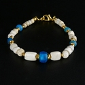 Bracelet with Roman turquoise/blue glass and shell beads