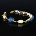 Bracelet with Roman blue glass and shell beads