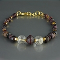 Bracelet with Roman purple glass and rock crystal beads