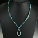 Necklace with Roman turquoise glass and rock crystal beads