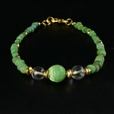 Bracelet with Roman green glass and rock crystal beads