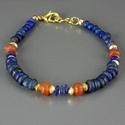 Bracelet with Roman blue glass, lapis and carnelian beads