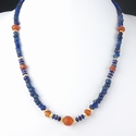 Necklace with Roman blue glass, carnelian, lapis beads