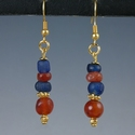 Earrings with Roman blue glass and carnelian beads
