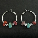 Earrings with Roman red and turquoise glass beads