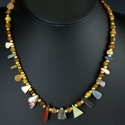 Necklace with Roman lapis, quartz, jasper, alabaster amulet