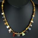 Necklace with Roman lapis, quartz, jasper, alabaster amulet