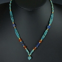 Necklace with Roman turquoise glass, carnelian, lapis lazuli