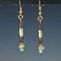 Earrings with Egyptian gold wrapped lapis, carnelian beads