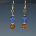 Earrings with Roman lapis lazuli and carnelian beads