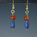 Earrings with Roman lapis lazuli and carnelian beads