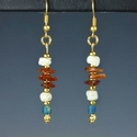 Earrings with Roman turquoise glass, shell, carnelian beads