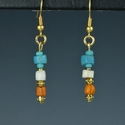 Earrings with Roman turquoise, orange glass and shell beads