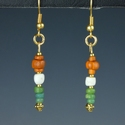 Earrings with Roman green, orange glass and shell beads